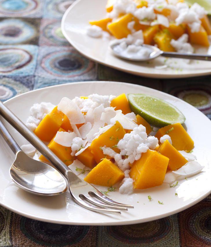 Mango with coconut milk granita.