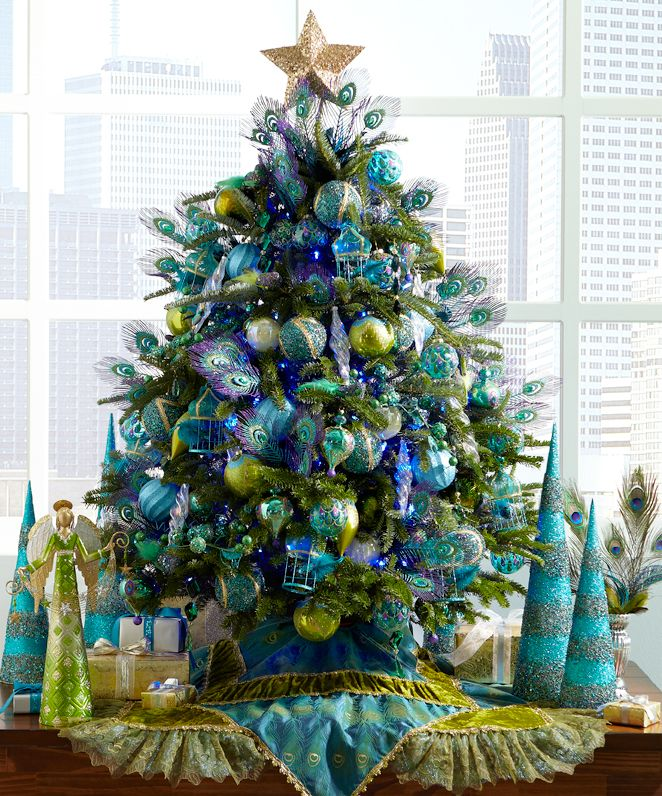 color scheme ideas its a peacock christmas with pier 1 peacock tree skirt and assorted ornaments okay this the look im going for but on a tree