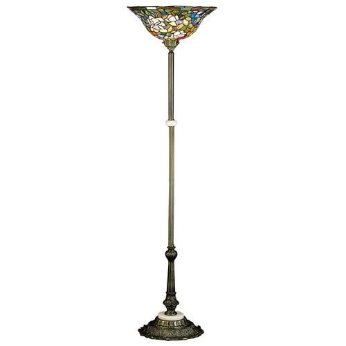Meyda Tiffany 31122 Stained Glass / Tiffany Torchiere Lamp from the Tiffany Rosebush Collection, Tiffany Glass