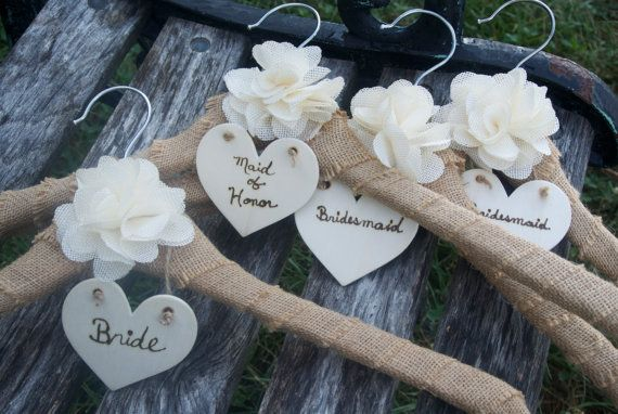 Rustic Wedding Dress Hanger, Personalized Bridesmaids Hanger, Burlap Hanger, 5