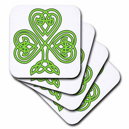 3dRose Celtic Shamrock, Soft Coasters, set of 8