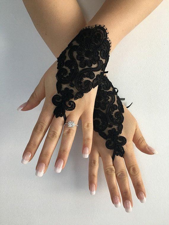 FREE SHIP Black Lace Wedding gloves bridal by LaceBarefootSandals
