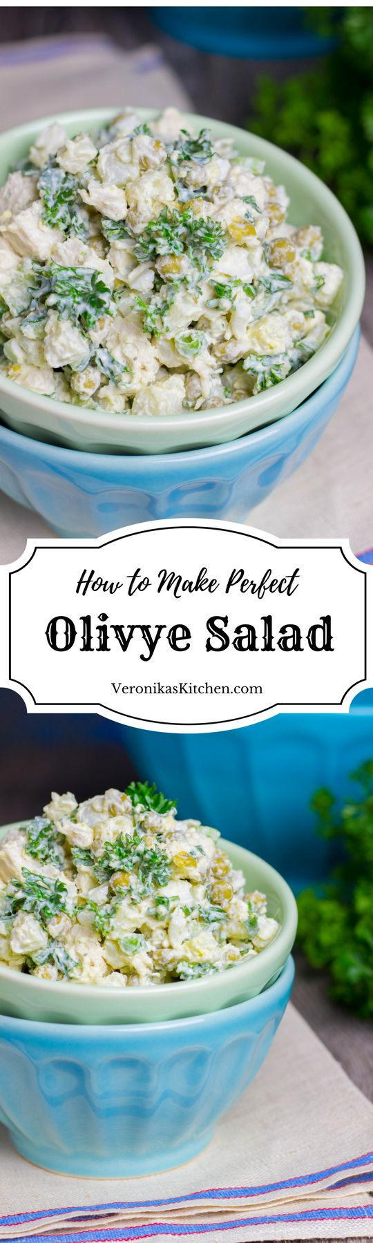 Olivye salad is a popular Russian dish that can remind you of a mix of potato salad, egg salad, and chicken salad. It will be a great idea for lunch or a side dish for dinner.