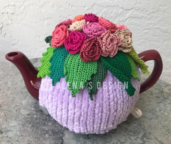 Olenas Tea cozies and Crafts are each individually make to order. No assembly line, no manufacturing process. Just a unique design, made like no other My model tea pot (I brought it from Ukraine) is for 4-6 cups. However I now make a tea cozy for every shape and size. For the base I use a special bulky Chenille Velvet yarn, which I order from the factory in Turkey. For flowers and leaves, I use only 100% cotton thread. To make them look more real, I use variegated colors. Most of this type…