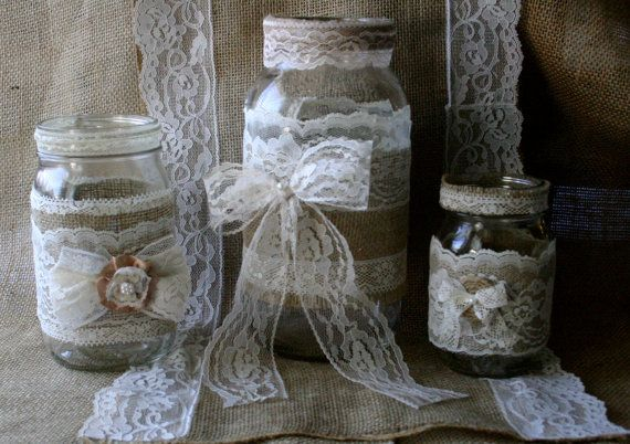 VINTAGE lace wedding JARs Burlap wedding by Bannerbanquet on Etsy, $38.50
