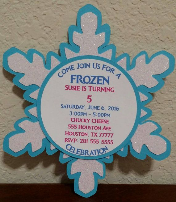 Very cute Frozen theme invitations. They are handmade from cardstock. This listing is for 1 invitation so make sure to choose the correct