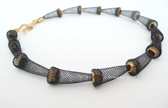 """Black Gold Mesh Necklace"" By the same artist who made the beautiful carnelian necklace!>>> PenelopeStern Polymer Clay, Sterling Silver Gifts & Jewelry, Knitwear"