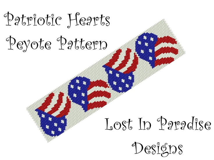 Peyote Bracelet Pattern - Patriotic Hearts - Peyote Stitch Pattern (Buy any 2 and get one Free). $6.50, via Etsy.