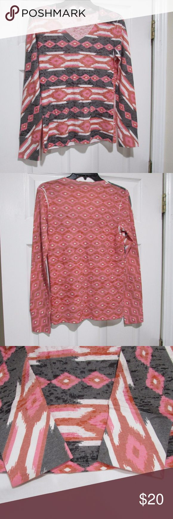 """🌟NWOT🌟 Before + Again Southwest/Aztec Thermal This long-sleeve V-neck tee comes in a print reminiscent of a southwest blanket.   New without tags. Never worn.   Printed via sublimation printing. White areas known as """"sublimation smiles"""" are a normal part of the manufacturing process and are typically found at the armpit.  Size XS Across, armpit to armpit: ~16"""" Across, at waist: ~15.25"""" Across, at bottom hem: ~17"""" Length, vertically down center of shirt: ~23.5""""  Lightweight thermal…"""