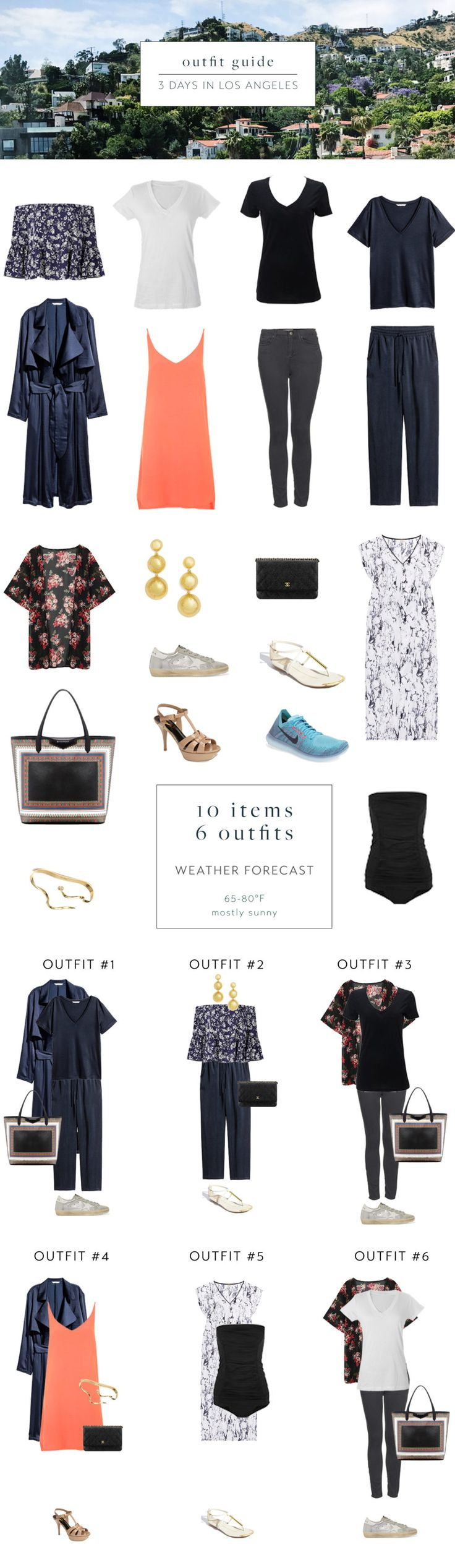 10 items, 6 outfits for Los Angeles