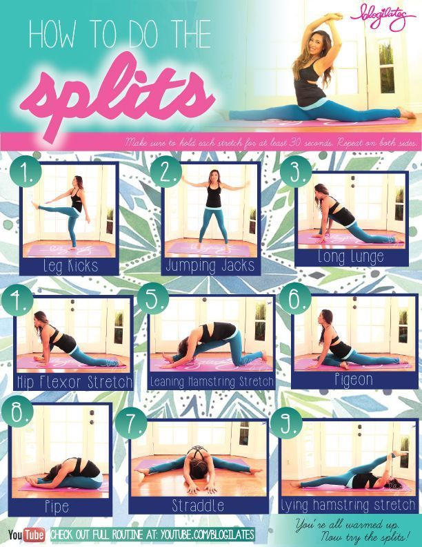 @blogilates tips on doing the splits - stretches to get you there!