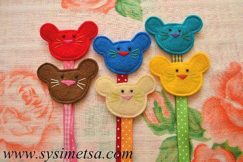 Felt Mouse Bookmark Handmade Mouse Bookmarks by SysimetsaDesign