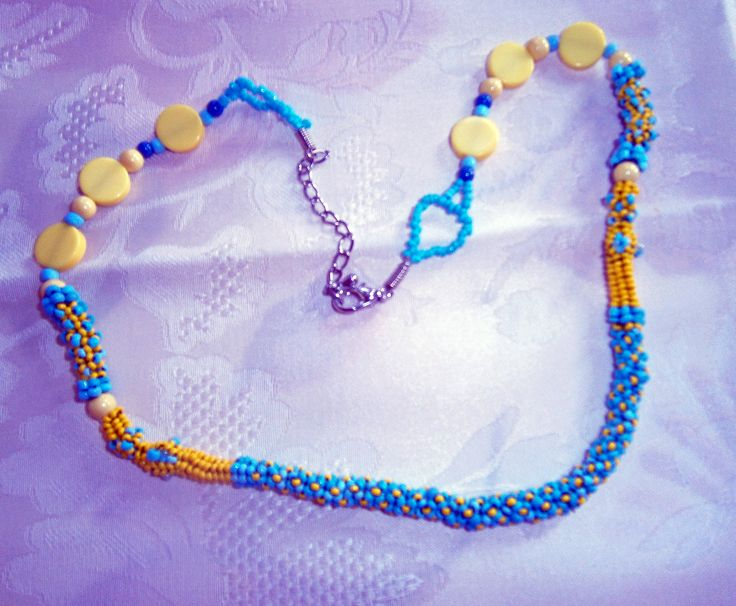 Chenille style necklace by Sophiecadesigns #blue #yellow #handmade