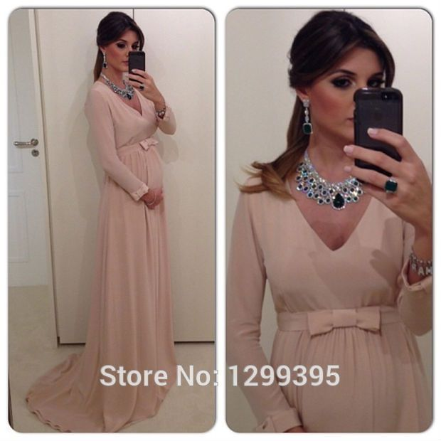 Elegant Chiffon Long Sleeve Evening Dresses Maternity Evening Dresses Prom Formal Dress for Pregnant Women Real Photo-in Evening Dresses from Weddings & Events on Aliexpress.com | Alibaba Group
