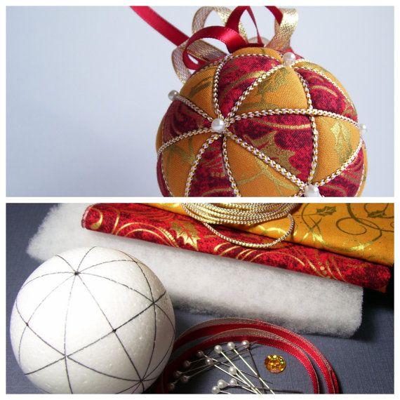 Navidad adorno Kit-Kazaguruma Kimekomi tela de por OrnamentDesigns