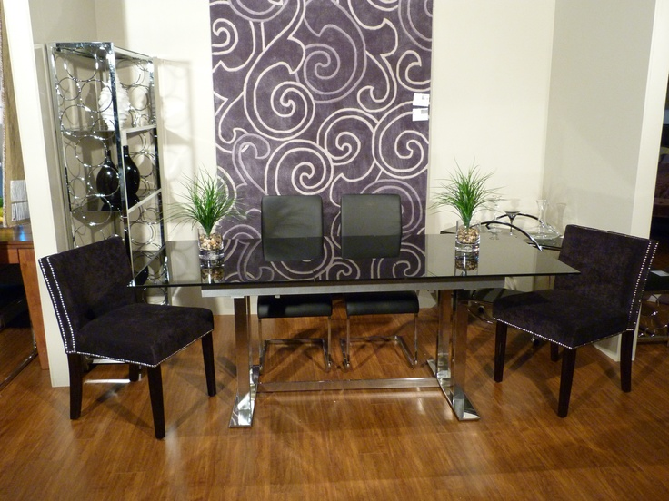 Room Set - NADIA chairs in black, MAXIM chairs in black, MAXIM dining table, FESTIVAL rug, INFINITY etagere, INFINITY trolley