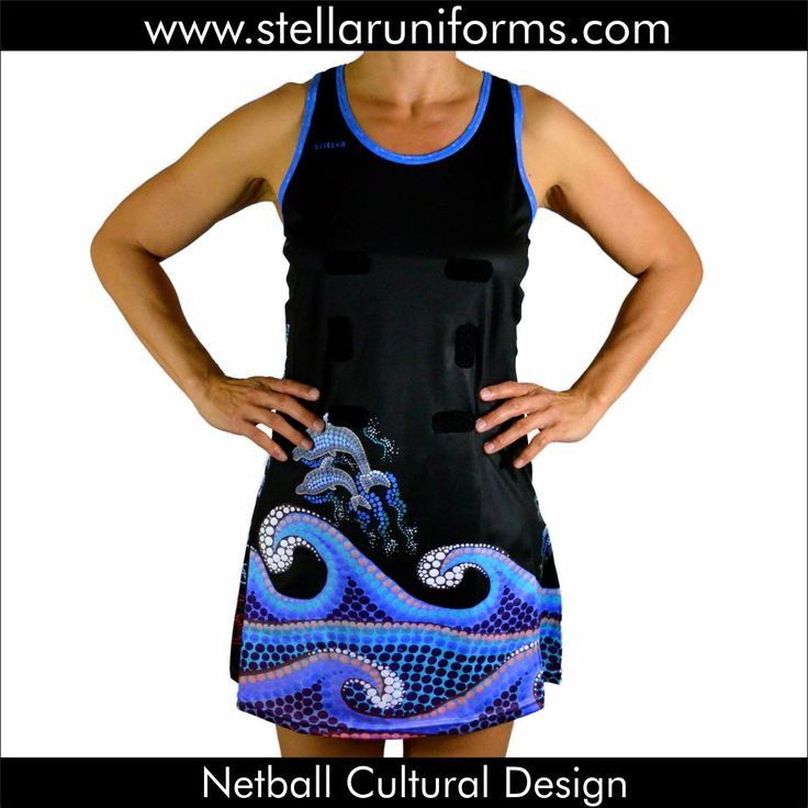 """Netball A-Line Dress. Aboriginal. Cultural Design. Artwork re-created from the original painting by """"Noni Art and Design."""""""