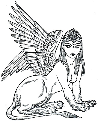 "Greek Sphinx an omen of death & destruction & bad luck. Offspring of Typhon and Echidna. A female creature, sometimes depicted as a winged lion with a human head, & sometimes with the breasts, paws  of a lion, & wings. She sat on a high rock near Thebes & posed a riddle to all who passed. The riddle: ""What animal is that which in the morning goes on four feet, at noon on two & in the evening upon three?"" Need to do a sphinx-maybe haunting the temple at the Met in NYC or housecat size.TB"