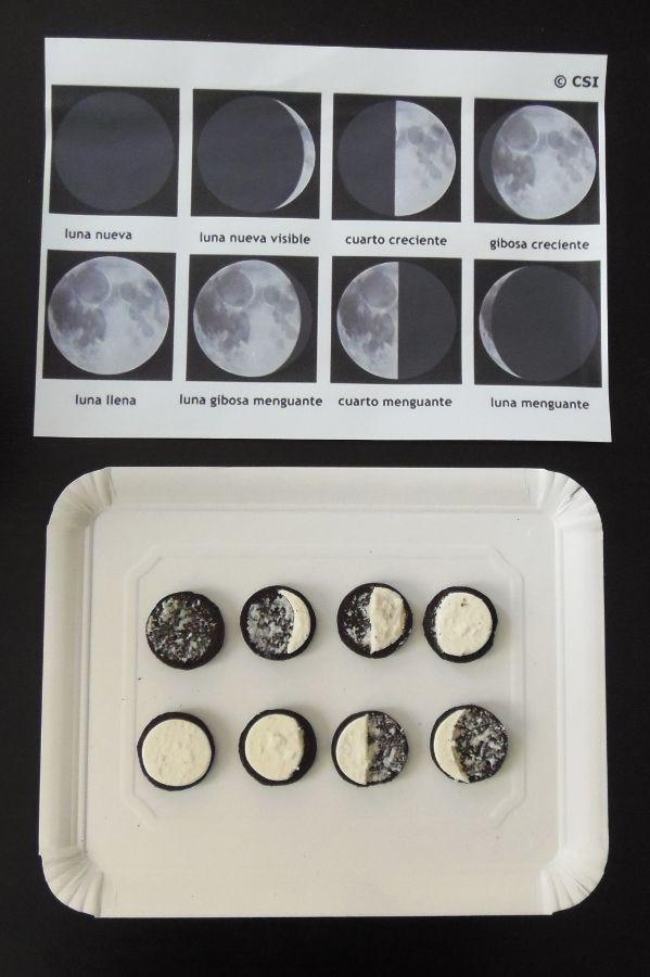 Las fases de la Luna con galletas Oreo - Moon phases with Oreo