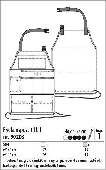 Ryglænspose til bil - 90203 - Stof & Stil