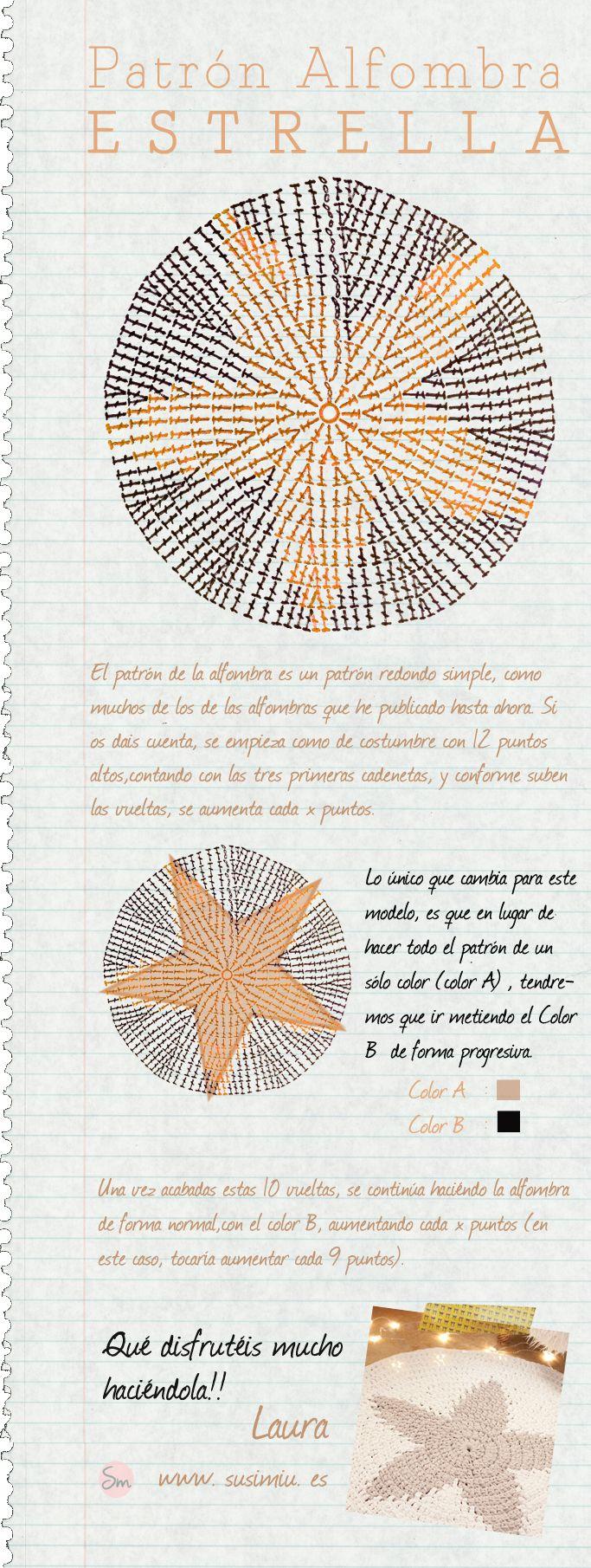 Alfombra De trapillo redonda con estrella central. Patrón. Rug.