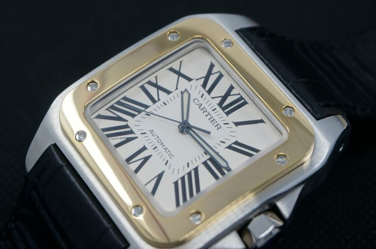 Cartier Watch (Men's Pre-owned Santos 100 Medium Automatic SS 18K Gold Wristwatch with Alligator Strap)