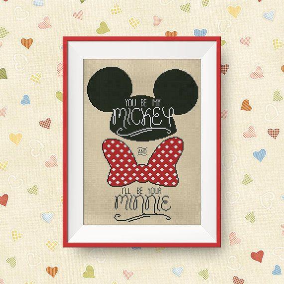 BUY 2, GET 1 FREE! You be my Mickey cross stitch pattern, Mickey and Minnie cross stitch pattern, Instant Download, pdf, P174