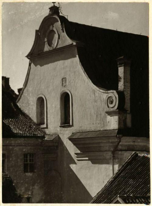Kościół Ewangelicko-Ausburski - fragment elewacji frontowej, Wilno, Litwa. Jan Bułhak, 1917