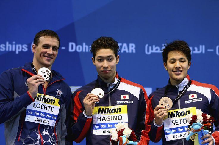 (L-R) Ryan Lochte of the USA, Kosuku Hagino of Japan and Daiya Seto of Japan