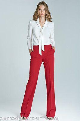 Pantalon rouge mode femme tailleur bootcut large revers