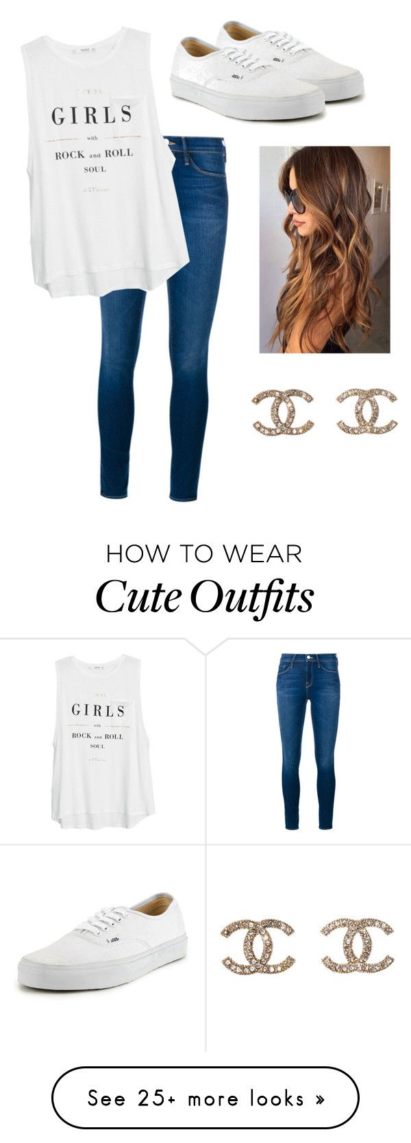 """Cute School Outfit"" by faith-shelton7879 on Polyvore featuring Frame Denim, MANGO, Vans, Chanel, women's clothing, women's fashion, women, female, woman and misses"