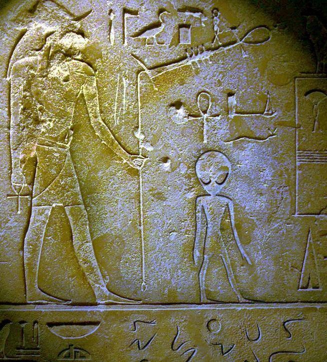 Panel  egipcio; posiblemente los egipcios supieran que estos eran robots biológicos y creyeran que no tenían alma (tal vez así pudieran saltarse la regla de representar a los humanos y a los dioses de perfil), pues a este ser le representaron de frente; aunque también existe la posibilidad de que se le representara así por tener una boca minúscula, sin labios, y carecer de nariz; así quedaba claro qué tipo de ser se representaba.