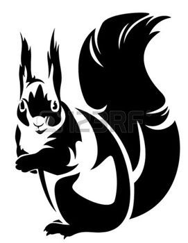dieren+van+het+bos%3A+zitten+eekhoorn+%28Sciurus%29+-+zwart-wit+overzicht