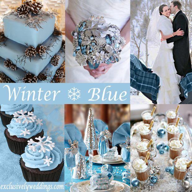ślub zimą niebieski błękitn