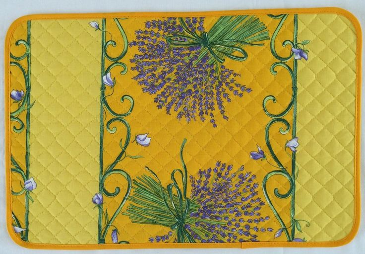 french linen placemat with lavender design in yellow