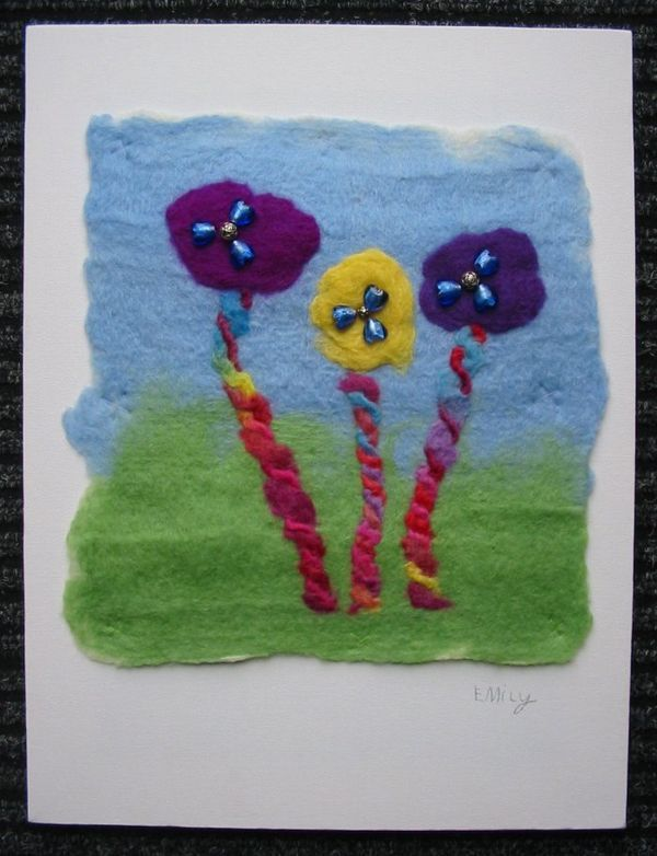 This is a quick and fun project to make with children – in an hour or so your child can make a masterpiece! Most children tend to love the tactility of felt making – the fluffiness of the wool top...