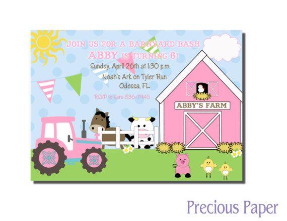 Digital Farm Birthday Invitations Girls Pink Farm Birthday