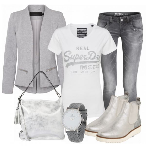 Toler casual look made of white Superdry shirt, gray jeans and gray boots …   – FrauenOutfits – Freizeit – Outfits
