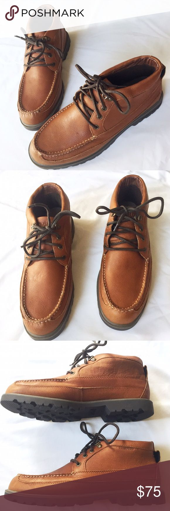 NWT Sperry Leather Top-Sider boots. Size 11 Brand new and never worn. Sperry leather boot like top-siders. Thick soles with heavy tread. Well made, solid, sturdy shoe. Water proof. Size 11 Sperry Top-Sider Shoes Chukka Boots