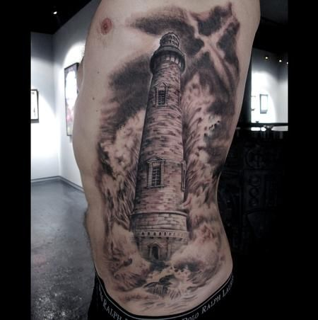 I really want a realistic lighthouse tattoo. I wouldn't like the dark skyline but would love the waves psalm 62:6