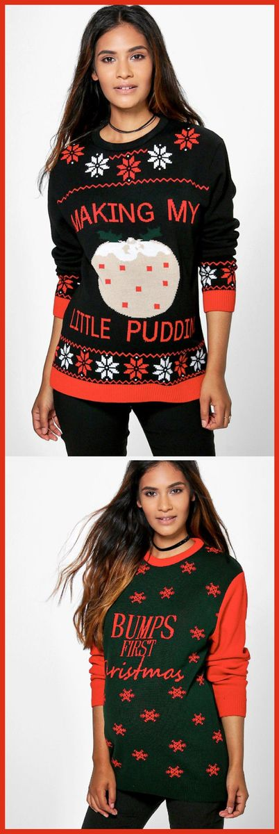 Check out these Maternity Christmas Jumpers...they're adorable!