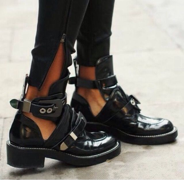 Shoes Like Balenciaga Ceinture Cut Out Leather Ankle Boots
