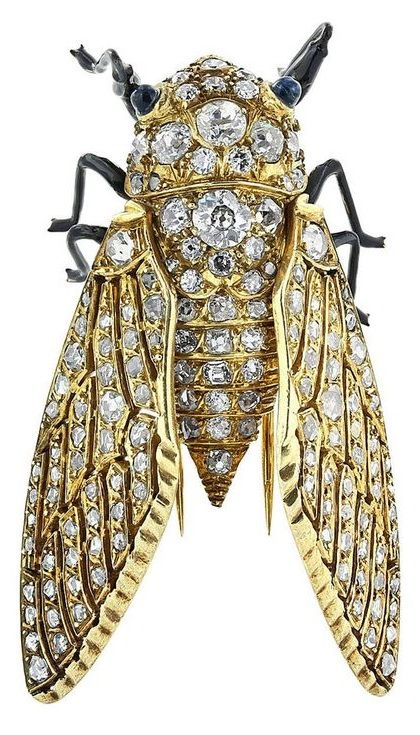 Diamond Gold Insect Brooch