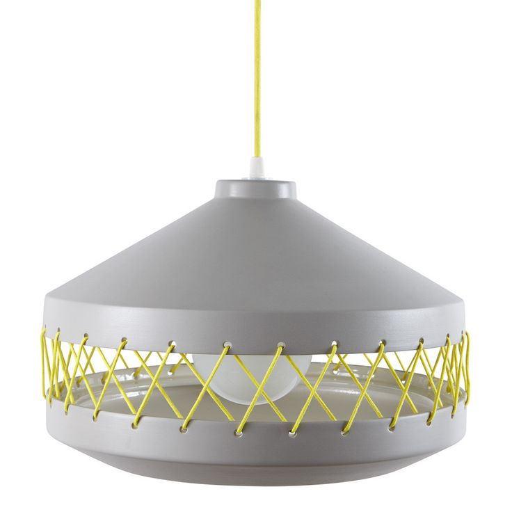 Large grey Tie Lamp with yellow coloured cotton ties.