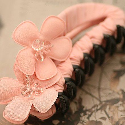 High Quality Summer Handband Chiffon Flower with Crystal Hair Claw for Women