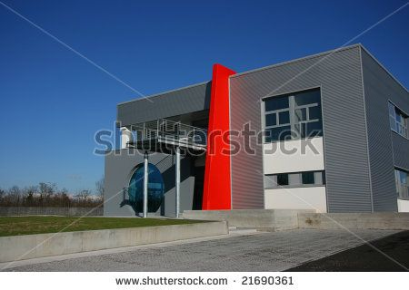 Stock photo modern office building exterior horizontal perspective right view modern for Interior exterior building supply corporate office