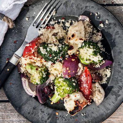 Bild på Couscous med grillade grönsaker, halloumi och kikärter
