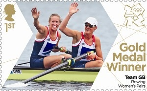 First ever stamps the Royal Mail have produced in 24 hours to celebrate all of Team GB Gold medals - this one the women's rowing pairs #London2012 #Olympics
