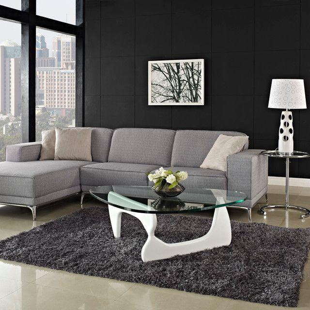 glas weiss couchtisch ideen modern noguchi design grauer teppich - Designer Couchtische Modern Ideen