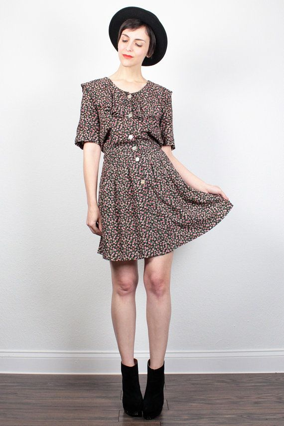 Vintage 1990s Dress Black Liberty Floral by ShopTwitchVintage